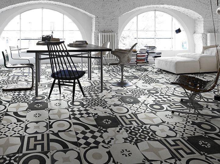 Porcelain stoneware floor tiles Cementine Black