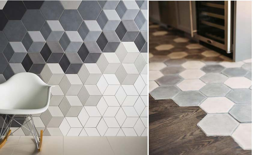 Płytki heksagonalne w różnych odcieniach