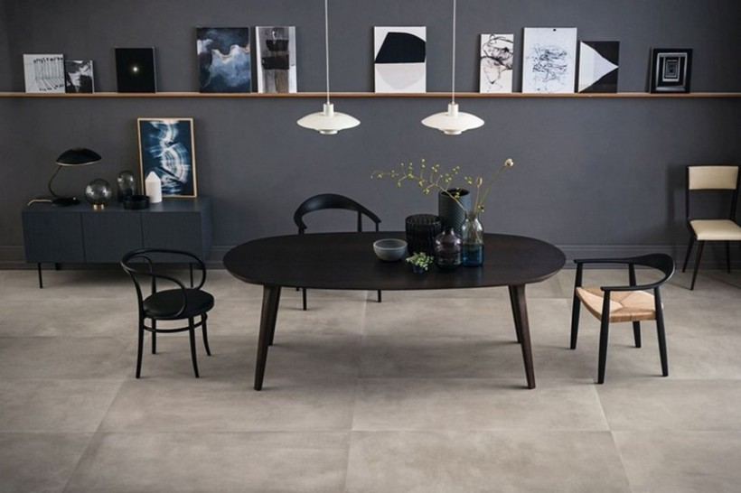 betonowe płytki, duży format, ciemne kolory
